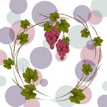 Wreath Of Burgundy Vine For Labeling, Menu, Harvest Festival On A Light Background