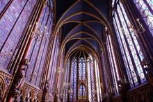 Interior Of Catholic Church At The Sainte Chapelle, Paris.