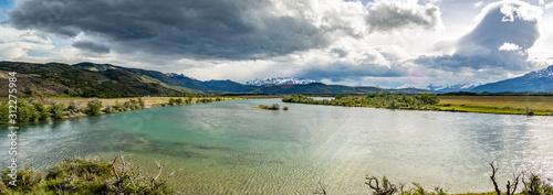 panoramica de un lago en Torres del Paine, Chile Canvas Print