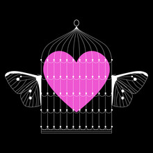 Isolated Vector Illustration. Captive Human Heart Inside Flying Bird's Cage With Butterfly Wings. Funny Romantic Emblem. Valentine's Day Decor.