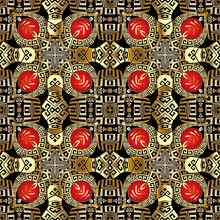 Gold 3d Greek Vector Seamless Pattern. Modern Geometric Background. Repeat Decorative Backdrop. Tribal Ethnic Style Greek Key Meanders Ornament. Ornate Design. For Wallpapers, Fabric, Prints, Tiles
