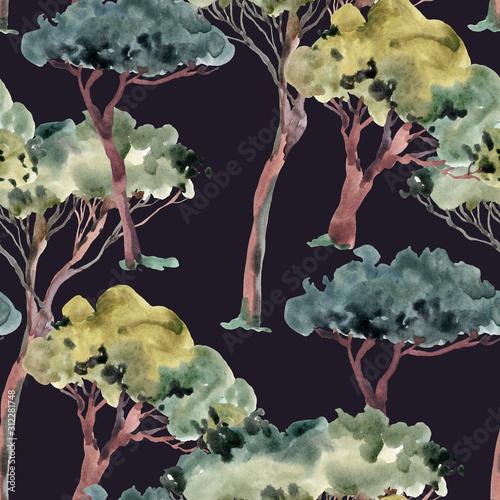 akwarela-naturalny-vintage-wzor-zielonych-drzew-tekstura-lasu