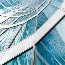 Curved Diagonal Perspective Lines - Abstract Office Building Architecture Detail Background With Modern Glass Windows On A Skyscraper - Square Layout