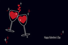 Two Tall Glasses With Red Wine In Shape Of Hearts In Love On Dark Blue Background. Vector Illustration With Place For Text For Holiday Valentines Day, Birthday Invitation For Wedding.
