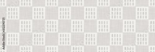Fototapeta Gray french country style linen vector texture border background. Printed with window facade. Natural ecru fibre seamless border pattern. Organic yarn close up woven fabric ribbon trim edge. obraz