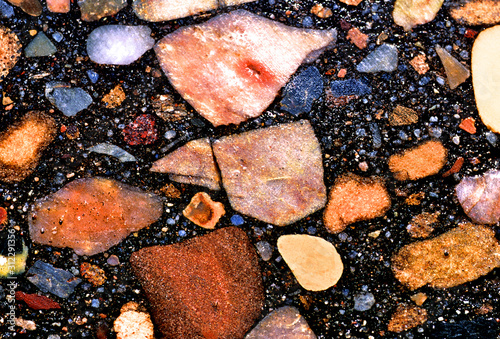 Cut slab of Original Route 66 Pavement showing rock aggregate and matrix, east o Canvas Print