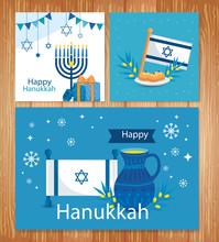 Set Poster Of Happy Hanukkah With Decoration Vector Illustration Design