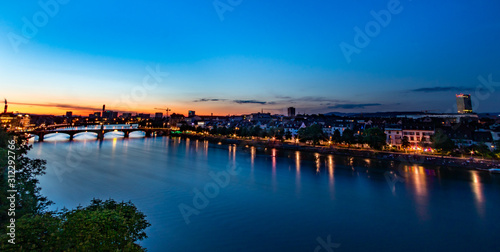 Photo Panoramic view of Basel after sunset, Switzerland