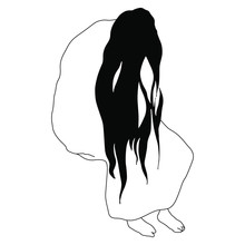 Sitting Sad Woman With Long Lo...