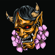 Demon Mask Japanese Vector Logo