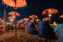 Long Exposure Of The Kuta Beach Bar Chairs At Night