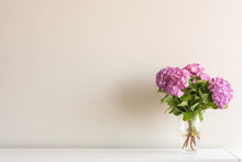 Pink Hydrangea Flowers With Gr...