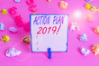 canvas print picture - Handwriting text Action Plan 2019. Conceptual photo proposed strategy or course of actions for current year Colored crumpled papers empty reminder pink floor background clothespin