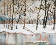 Watercolor Landscape And Nature Winter