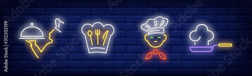 Chef neon sign set Canvas Print