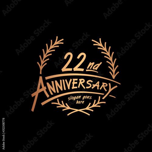 Fotografia  22 years design template. Vector and illustration. 22 years logo.