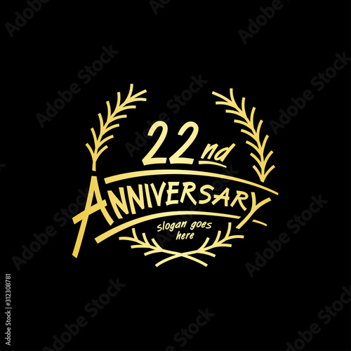 Papel de parede  22 years design template. Vector and illustration. 22 years logo.