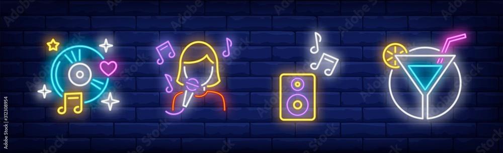 Fototapeta Karaoke bar neon signs set