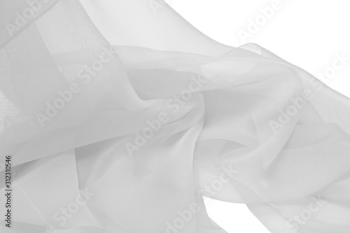 Fotografie, Obraz  White chiffon lightweight fabric on an isolated background