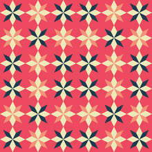 Vector Retro Coloured Patchwork Quilt Seamless Repeat Background Pattern With Star Shape.