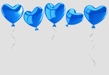 Flying Blue Balloons In Form Of Heart Isolated On Gray. Clipping Path Included