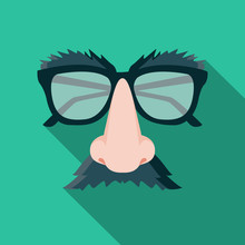 Funny Mask Flat Design Cartoon Vector Illustration