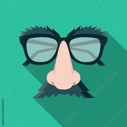 Fototapeta Funny mask flat design cartoon vector illustration