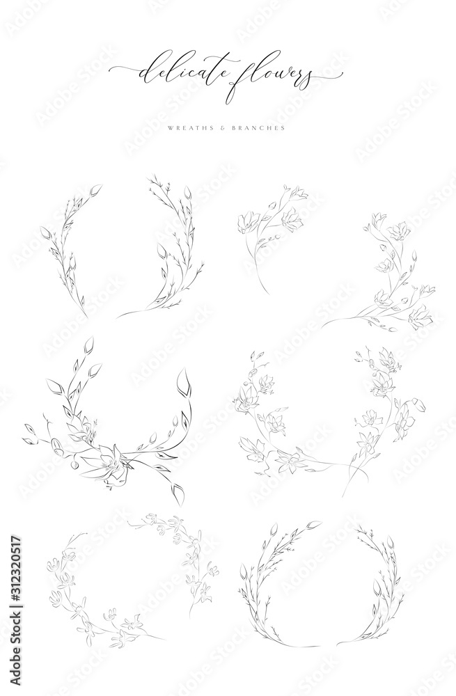 Fototapeta Collection of delicate line drawing vector floral wreaths frames. hand drawn delicate flowers, branches, leaves, blossom. Botanical illustration. Leaf logo