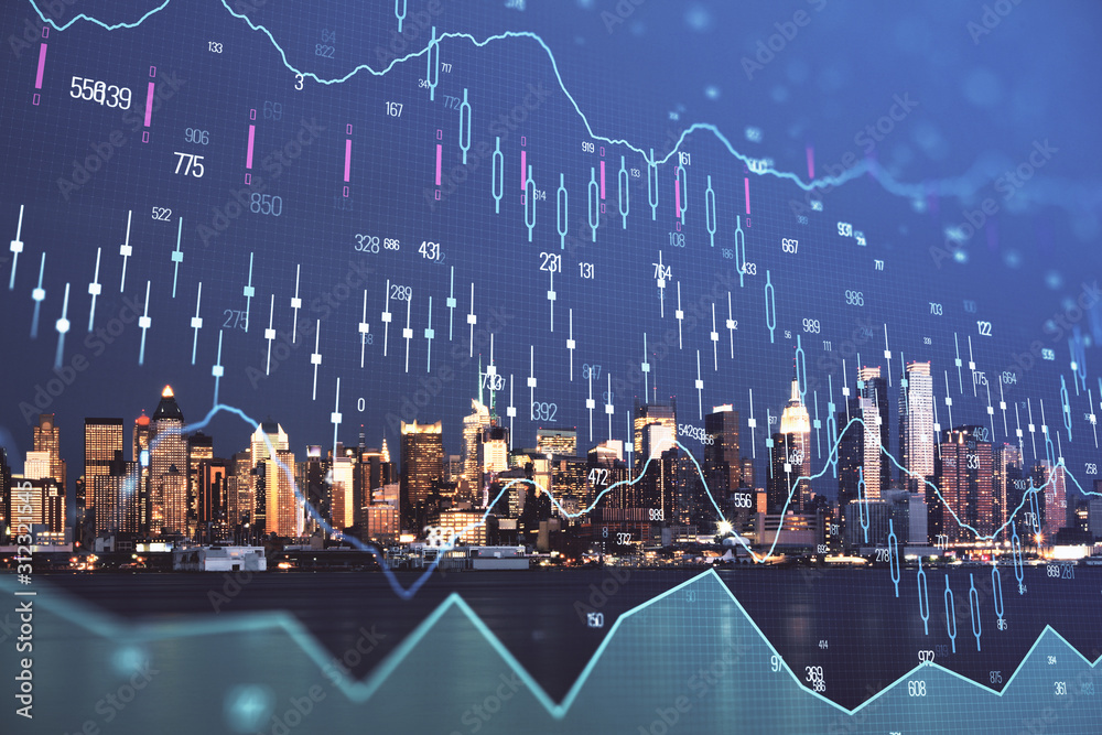 Fototapeta Financial graph on night city scape with tall buildings background double exposure. Analysis concept.