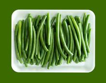White Dish Of Fresh Green Stri...