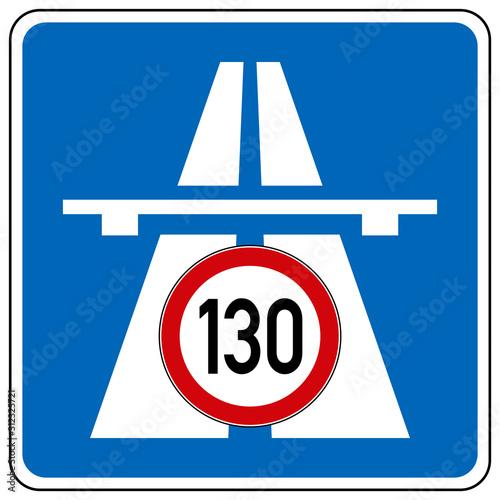 Fotografia  gz644 GrafikZeichnung - german Fotomontage - Autobahn Höchstgeschwindigkeit 130: Tempolimit auf deutschen Autobahnen