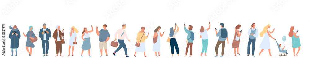 Fototapeta People crowd with gadgets. Background city people vector horizontal banner. Men and women using phones.