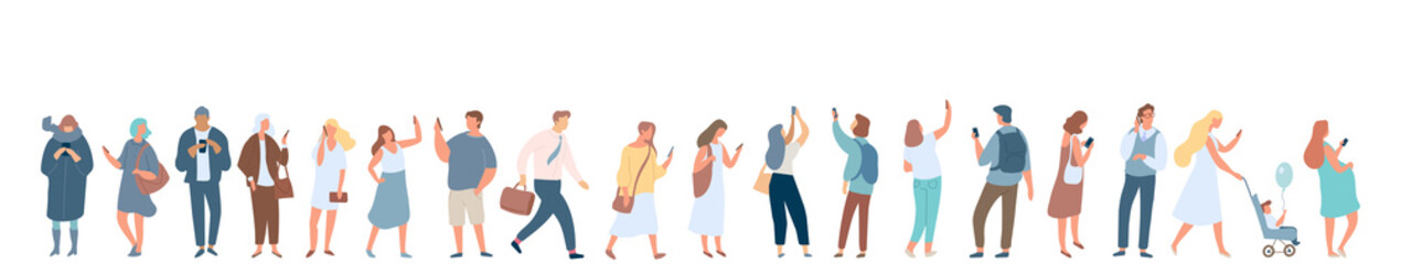 People crowd with gadgets. Background city people vector horizontal banner. Men and women using phones.