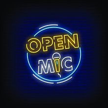 Open Mic Neon Signs Style Text...