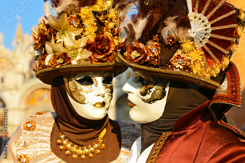 carnival at Venice, traditional festive carnival with costume and masquerade - 312333143