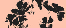 Retro Vintage Illustration In Asian Style Black Flowers On Pink Background Floral Natural Pattern