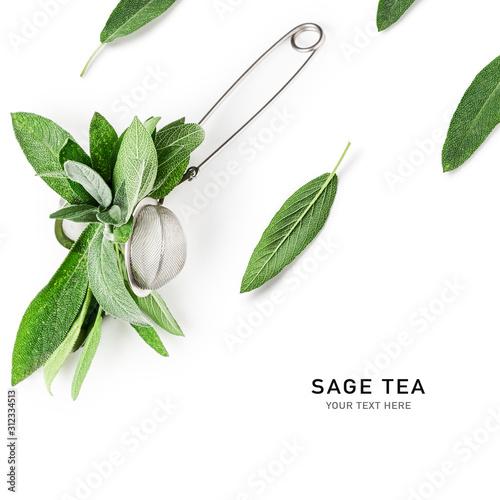 Obraz na plátne Herbal sage tea and strainer, creative layout