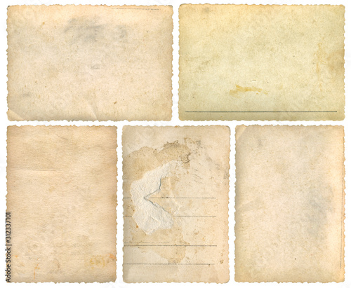 Five Old Empty Postcards Template Background Cutout Wall mural