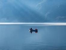 Single Fisherman's Boat On Lak...
