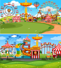 Two Scenes Of Circus With Many Rides