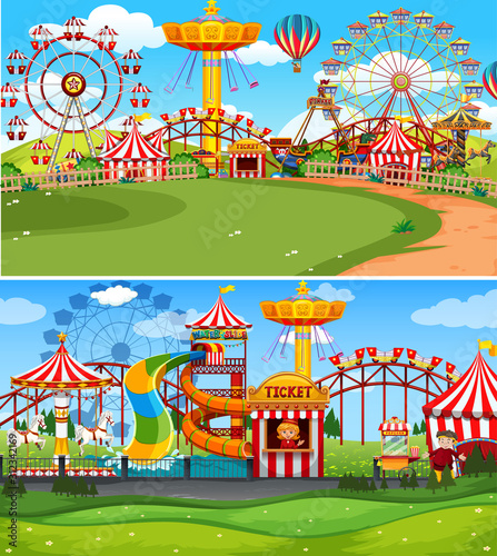 Fototapeta Two scenes of circus with many rides obraz