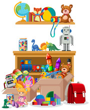 Shelf And Boxes Full Of Toys On White Background