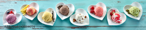 Obraz Rustic panorama banner of different ice creams - fototapety do salonu