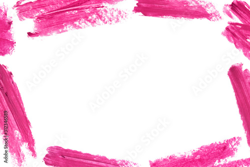 Frame of lipstick smear isolated on white background Canvas Print
