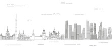 Moscow Cityscape Line Art Style Vector Illustration. Detailed Skyline Poster
