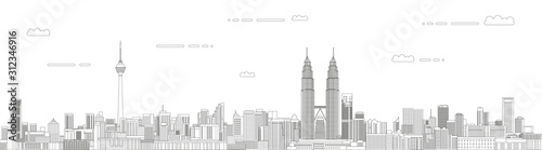 Photo  Kuala Lumpur cityscape line art style vector illustration