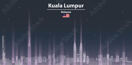 Kuala Lumpur at night cityscape line art style vector illustration Wallpaper Mural