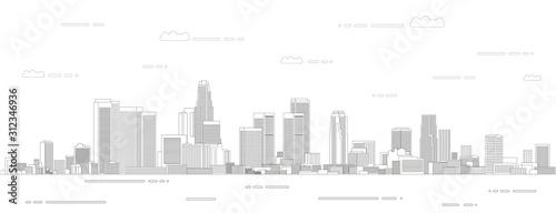 Naklejki miasto  ilustracja-wektorowa-styl-sztuki-linii-miasta-los-angeles-szczegolowy-plakat-panoramiczny