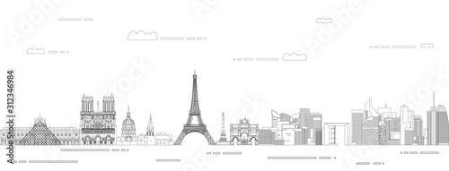 Fotografia Paris cityscape line art style vector illustration
