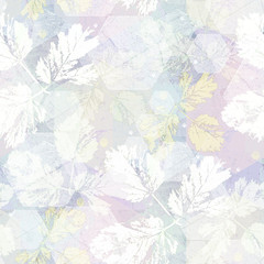 Panel Szklany Optyczne powiększenie Seamless abstract pattern. Flowers and gray hexagons with color shades. Delicate flower kaleidoscope.